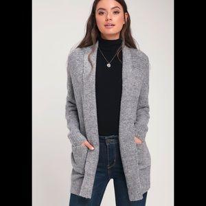Fig & Blue marled gray knit long cardigan